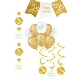 Verjaardag Feestpakket 4 delig goud   25 jaar