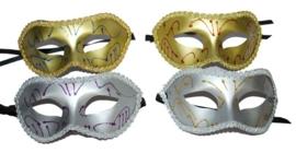 Halfmasker zilver met versiering