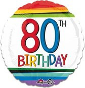 Folieballon rainbow '80' (43cm)