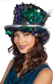 Hoge hoed luxe pailletten Peacock