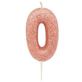Nummerkaars glitter rosegoud '0'