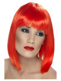 Pruik glamour Neon rood