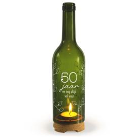 Wine Candle - 50 jaar | Wijnfles decoratie
