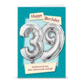 Leeftijd ballonnen kaart 39 jaar