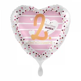 Folie ballon 2 jaar roze | 43cm