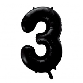 Folieballon cijfer zwart 86cm | 3 |