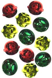 Belletjes rood, geel en groen 25 stuks