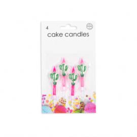 4 Cake kaarsjes Cactus