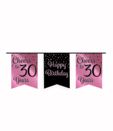 Party vlaggenlijn rose/zwart - 30