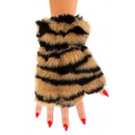 Vingerloze handschoenen pluche | tijger