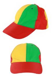 Baseball pet rood, geel groen