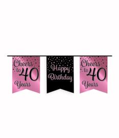 Party vlaggenlijn rose/zwart - 40