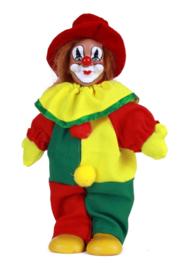 Clownspop met hoed rood geel groen 20 cm