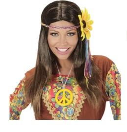 Pruik hippie bruin zonnebloem