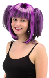 pruik black and purple