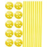 Ballonstokjes met houder geel 10 stuks