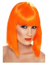Pruik glamour Neon oranje