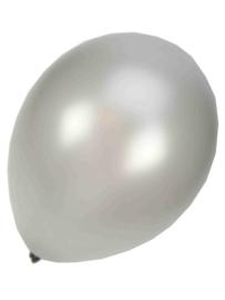 Kwaliteitsballon metallic zilver 10 stuks