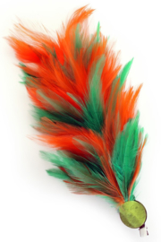 Verenpluim groen / oranje 30cm clip