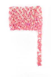 Paillettenband golvend licht roze 3