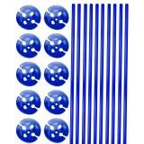 Ballonstokjes met houder blauw 10 stuks