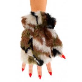 Vingerloze handschoenen pluche | camouflage