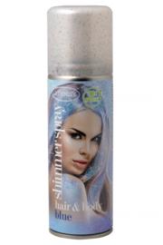 Glitterspray blauw | voor lichaam en haar | 100 ml
