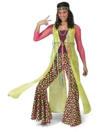 Happy hippie lady cape groen   Hippy kostuum