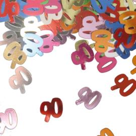 Tafeldecoratie / sier confetti 90 jaar