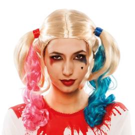 Pruik blond met staartjes roze/blauw