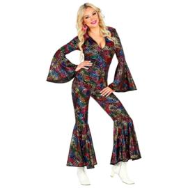 Disco 70's jumpsuit vrouw draai