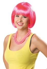 Pruik bobline neon pink