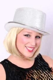 Hoge hoed zilver lurex