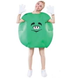 M&M feestkostuum groen volwassenen