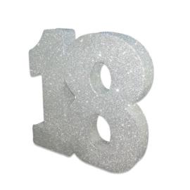 Tafeldecoratie 18 glitter zilver