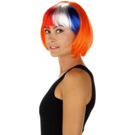 Oranje Pruik met Rood Wit Blauw Bobline