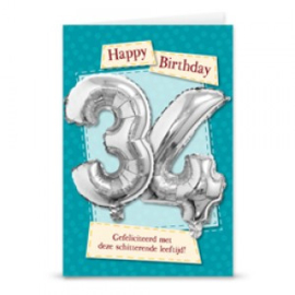 Leeftijd ballonnen kaart 34 jaar