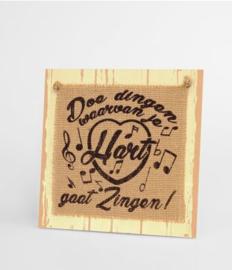 Wooden sign - Doe dingen waar je hart |