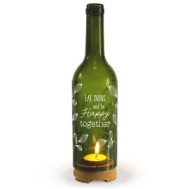 Wine Candle - Happy together | Wijnfles decoratie