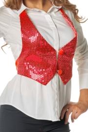 Pailletten dames vestje rood