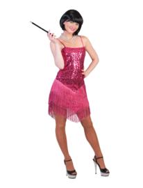 Flapper jurkje fringie roze