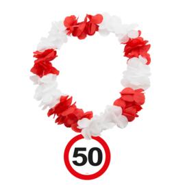 Hawaiikrans 50 jaar verkeersbord