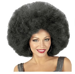 Pruik afro extra groot zwart