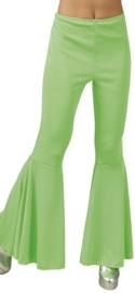 Disco broek wijde pijpen lime groen