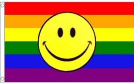 Regenboog smiley vlag 90x150cm