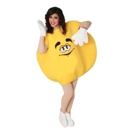 M&M feestkostuum geel volwassenen