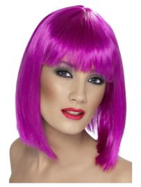 Pruik glamour Neon paars