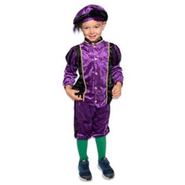 Kinder pieten pakje velours zwart paars