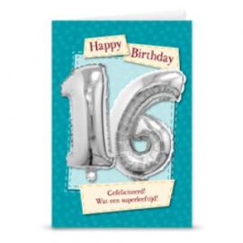 Leeftijd ballonnen kaart 16 jaar