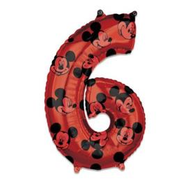 Folieballon cijfer 6 Mickey Mouse (66cm)